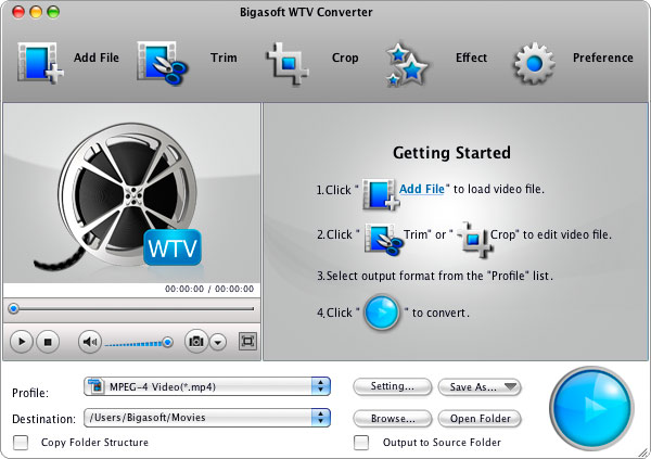 Screenshot of Bigasoft WTV Converter for Mac