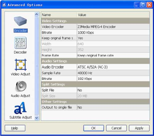 vob to avi conversion advanced settings - screenshot